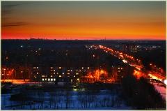 Городской пейзаж после заката солнца. Фото высокого разрешения