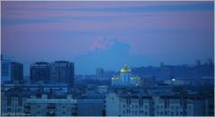 Сиреневые сумерки. Фото вечернего города. Розовое небо на закате