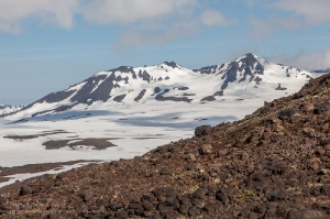 Поток лавы с вулкана Грелый. Вулкан Мутновский вдалеке