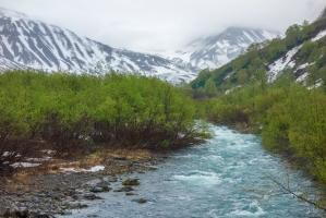 Горные пейзажи Камчатки. Река Паратунка