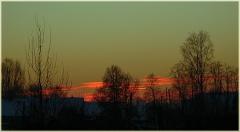 Зимний закат. Фото высокого разрешения. Красный закат. Зимний вечер