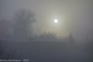 Восход луны в тумане