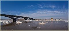 Панорама. Нижний Новгород. Ледоход на Оке