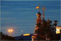 Строгановская церковь на фоне Волги. Ночной Нижний Новгород