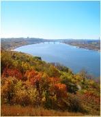 Виды Нижнего Новгорода. Парк Швейцария. Вид на Мызинский мост через Оку