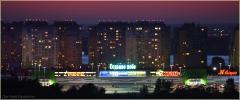 Микрорайон Седьмое Небо. Фото с правого берега Оки. Ночной Нижний Новгород