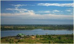 Утро в Нижнем Новгороде. Река Волга. Город Бор. Ресторан Робинзон. Фото Нижнего Новгорода